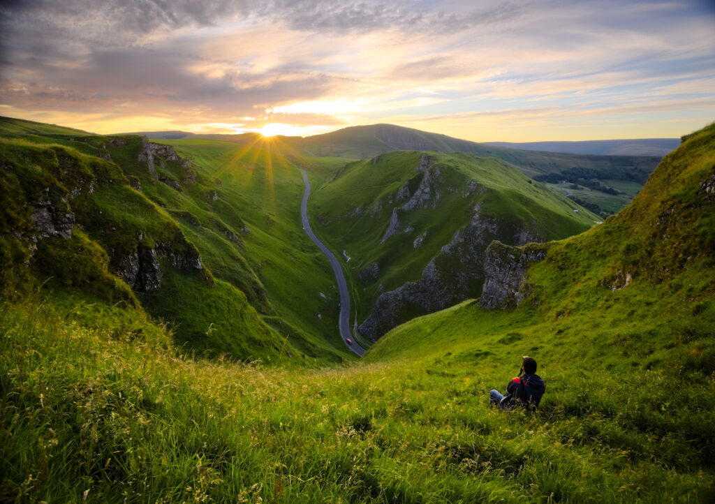 Winnats Pass at sunset in Derbyshire's Peak District.