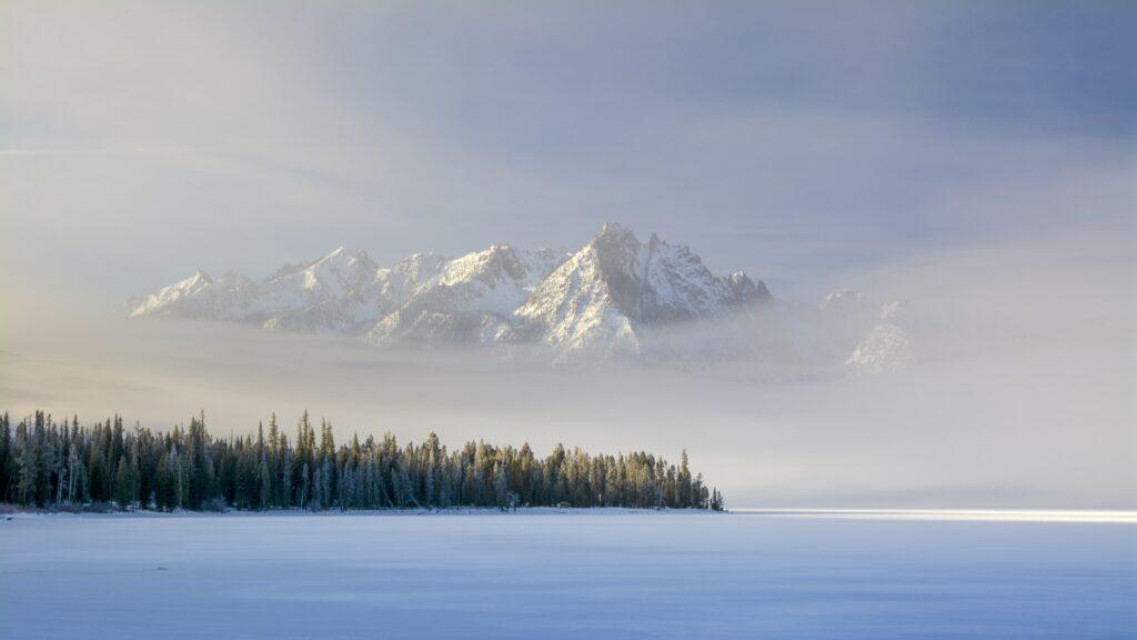Winter fog at Redfish Lake in Idaho.