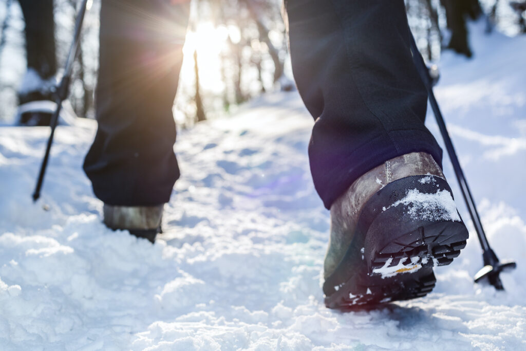 Winter hiking in the snow.
