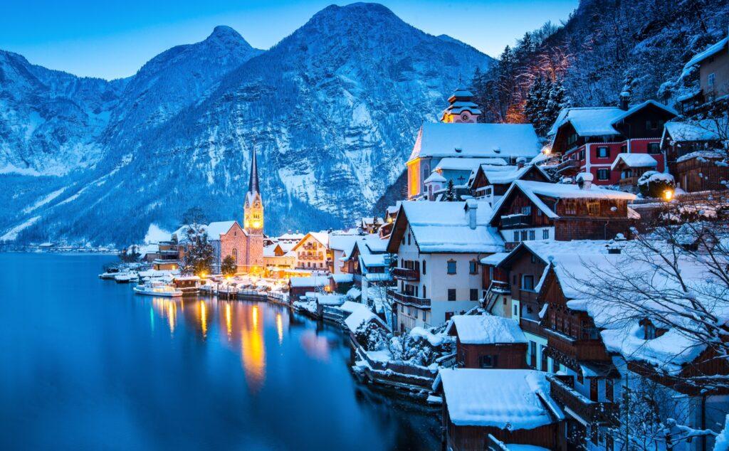 Winter in Hallstatt, Austria.