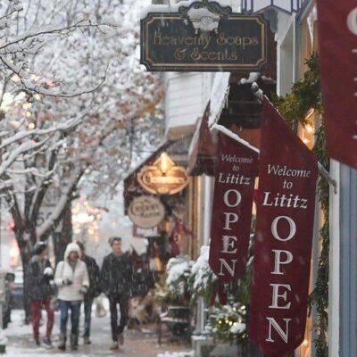 Winter in the quaint town of Lititz, Pennsylvania.