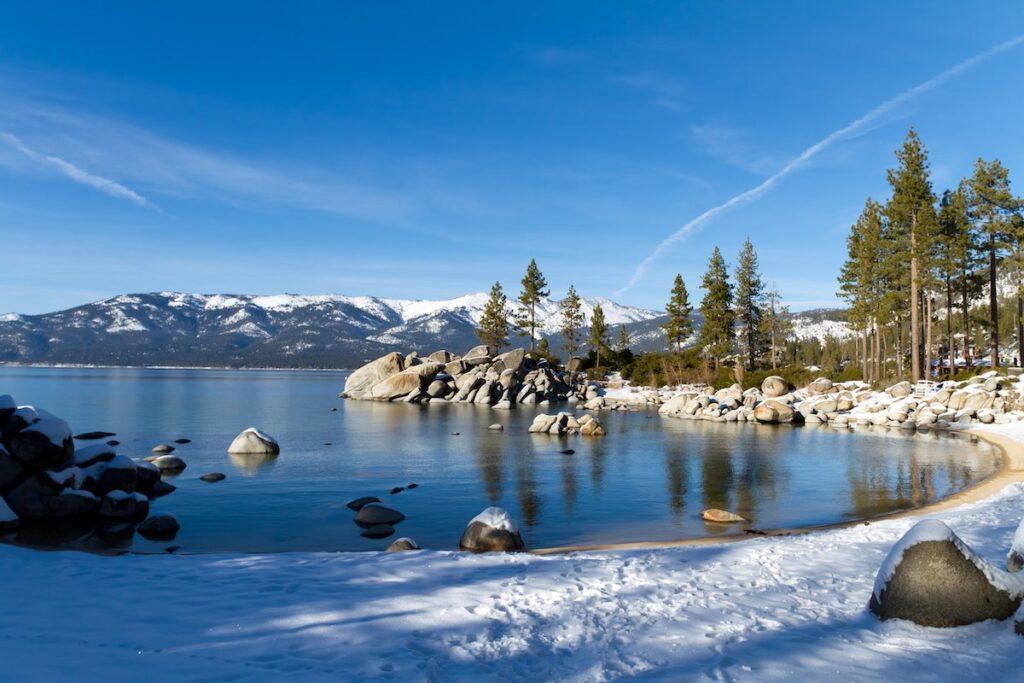Winter time at Lake Tahoe in California.
