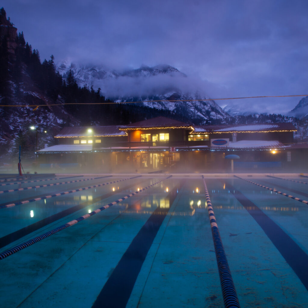 Winter time at Ouray Hot Springs in Colorado.