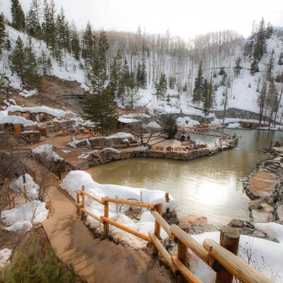 Winter time at Strawberry Park Hot Springs.
