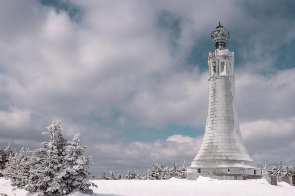 Winter time at the Veterans War Memorial Tower.