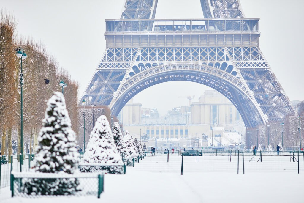Winter time in Paris, France.