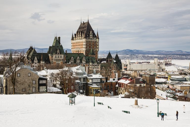 Winter views of Quebec City in Canada.