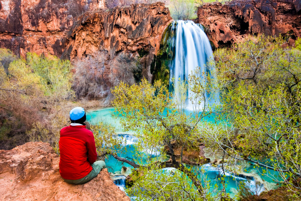 Woman admiring the Havasu Falls