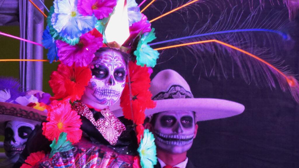 Woman and man dressed up for dia de muertos, la paz mexico