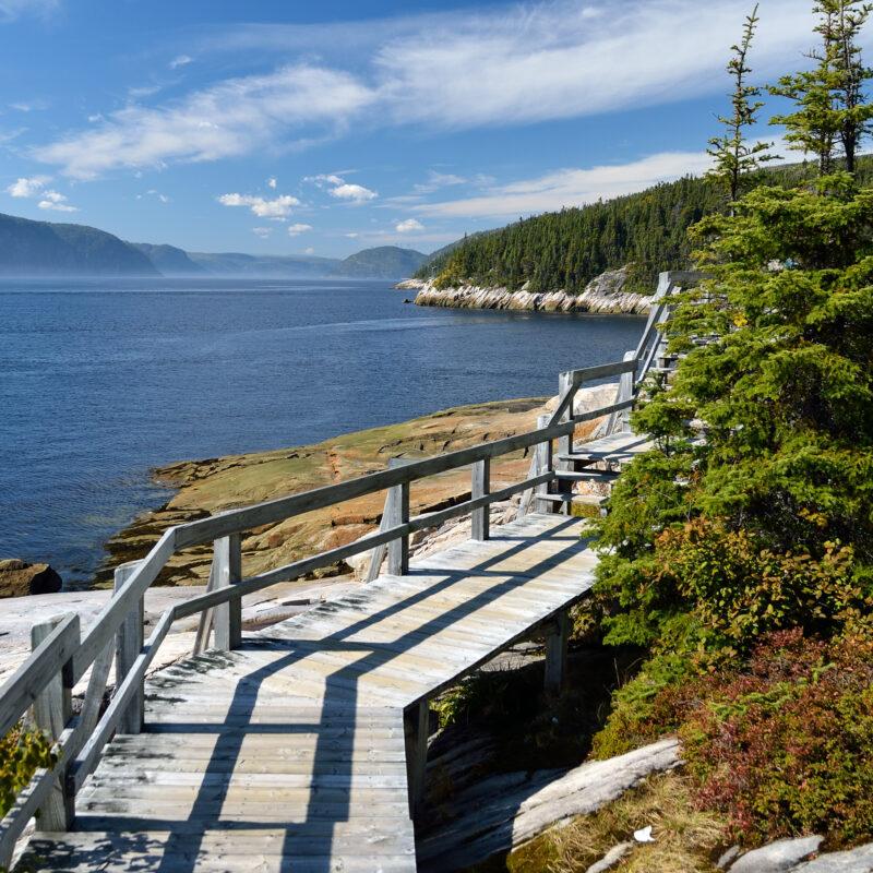Wooden pathway in Sainte-Marguerite bay, Quebec.