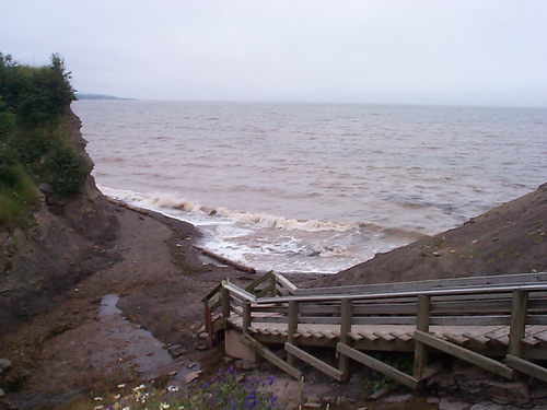 Wooden steps leading down to Joggins Beach