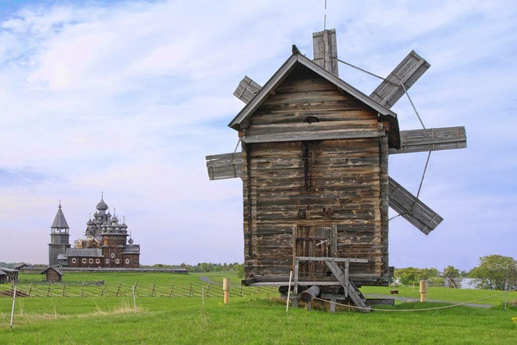 Wooden windmill on Kizhi Island in Russia.