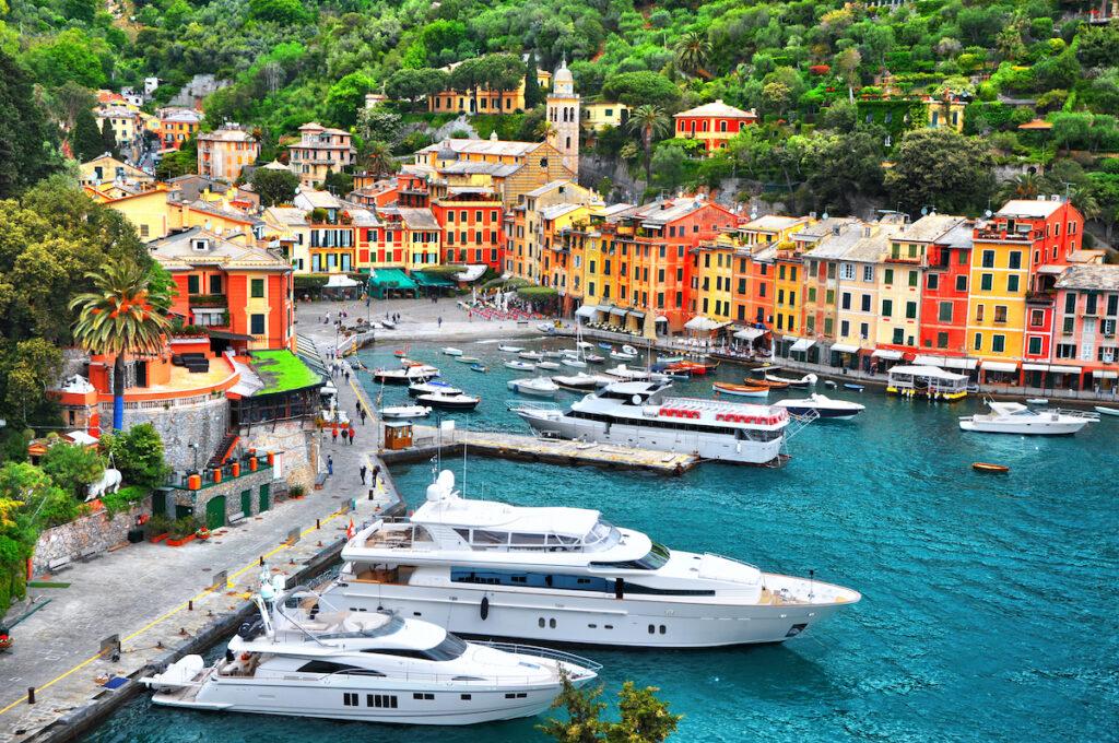 Yachts in the Portofino marina in Italy.