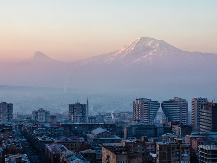 Yerevan, capital of Armenia, with mountains in the distance.