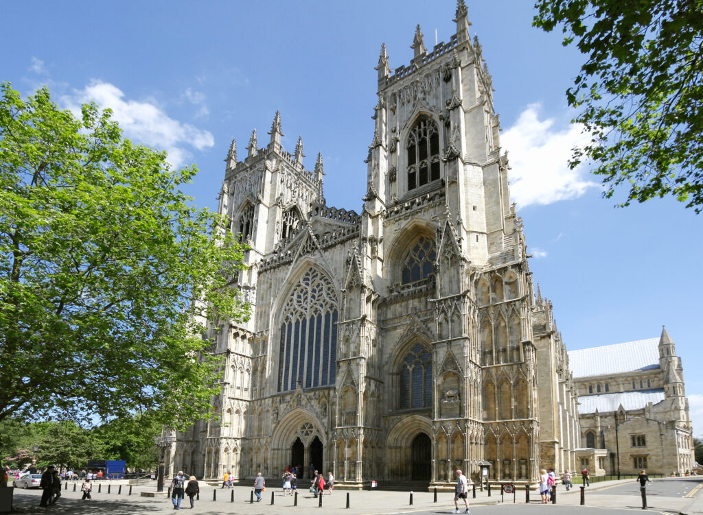 York Minster, a medieval cathedral in England.