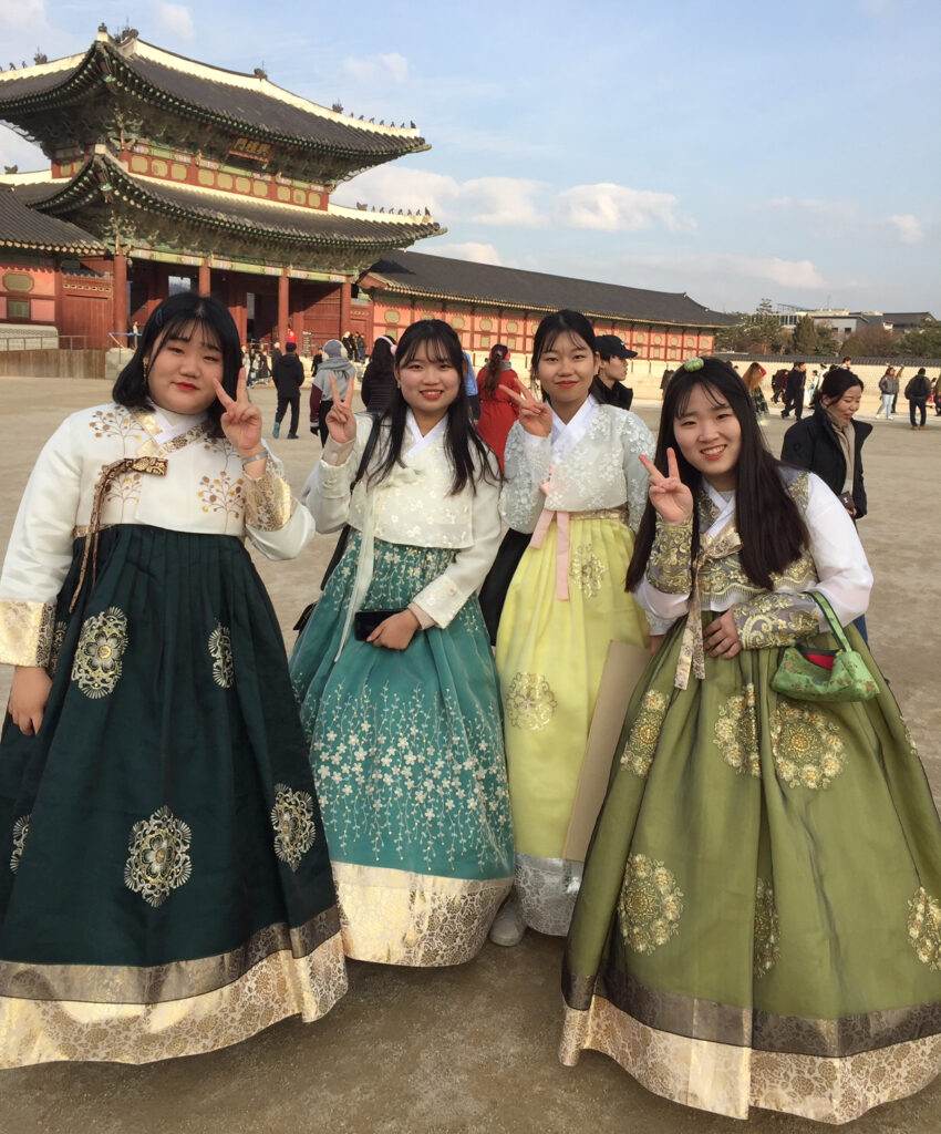 Young women in traditional South Korean dress.