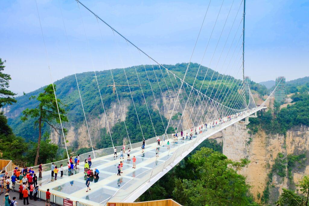 Zhangjiajie Glass Bridge in Hunan, China.