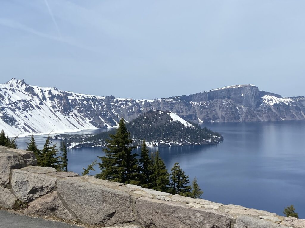 Snow in Crater Lake.