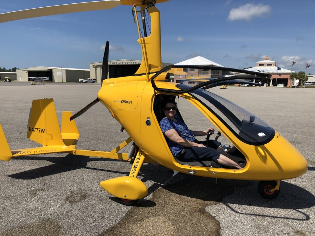 The writer in a gyroplane.
