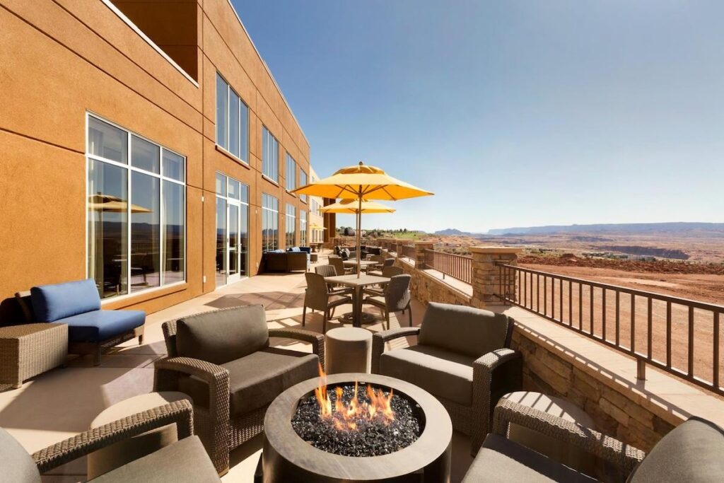 Patio and fire pits at the Hyatt Place Page/Lake Powell.