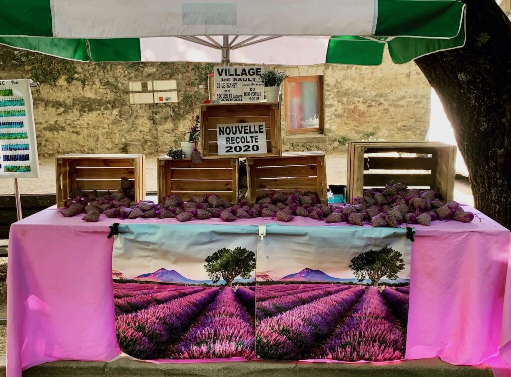 Lourmarin market booth in Provence, France.