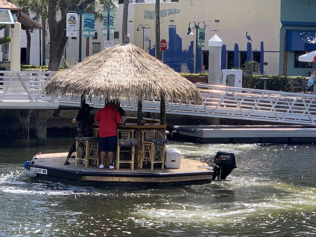 A floating tiki bar in Fort Lauderdale.