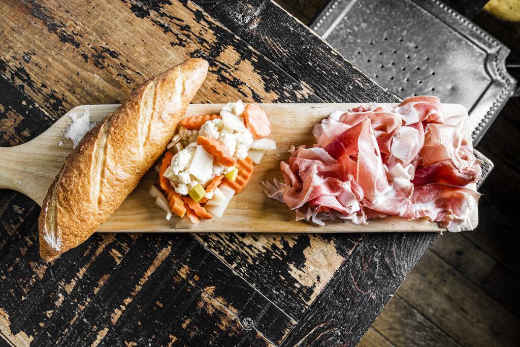 Prosciutto, bread, and veggies at Cardellino.