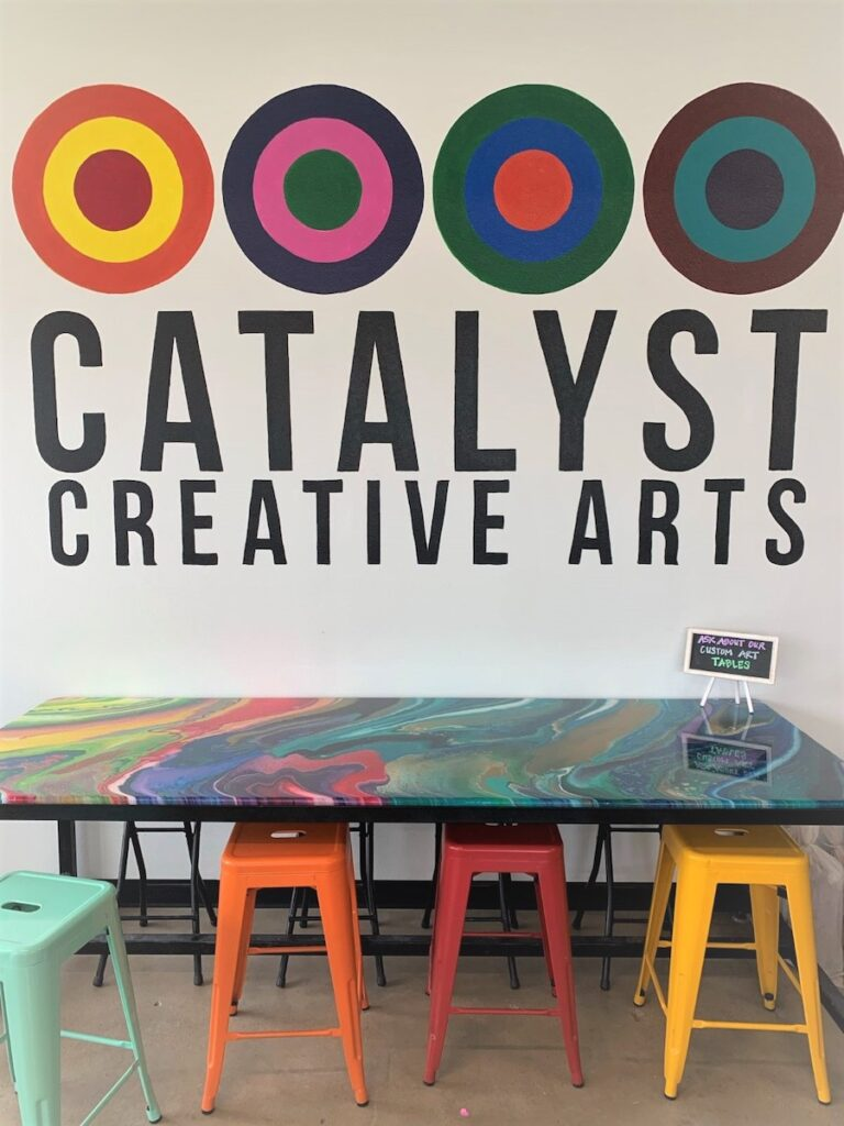 A table at Catalyst Creative Arts.