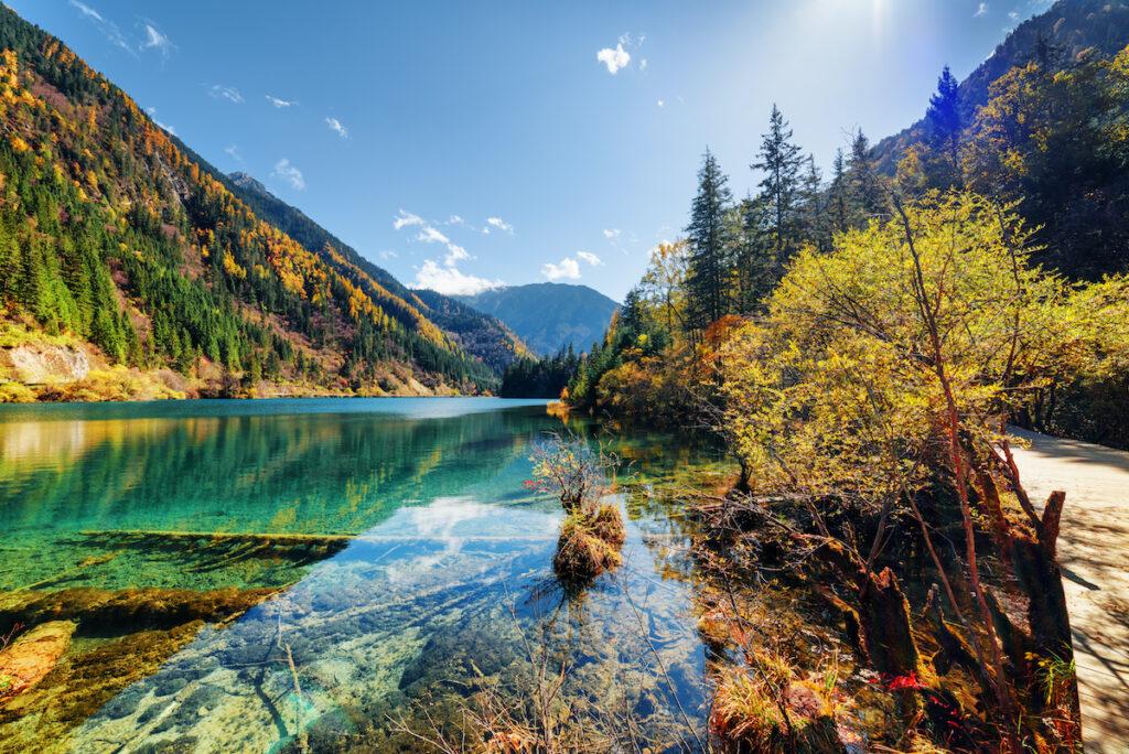 Five-Flower Lake in Jiuzhaigou National Park.