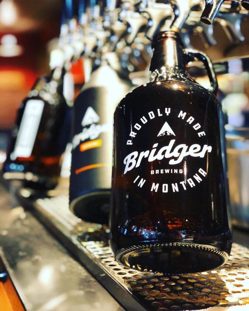 Growler of beer at Bridger Brewing.