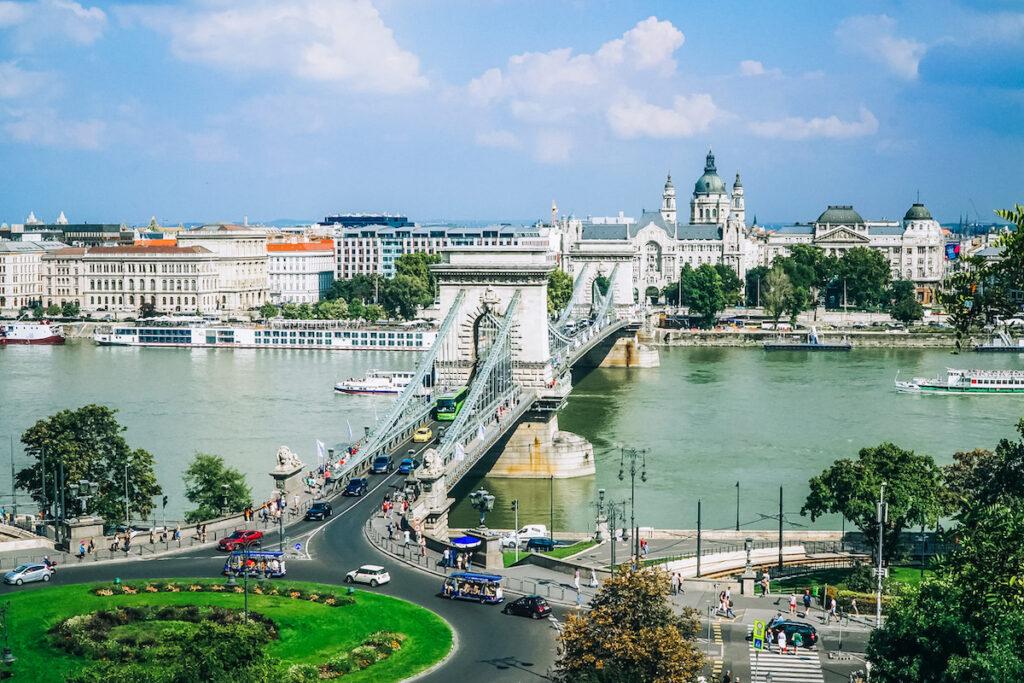 Széchenyi Chain Bridge in Budapest, Hungary.