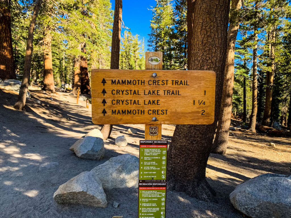 Trailhead signage in Mammoth Lakes.