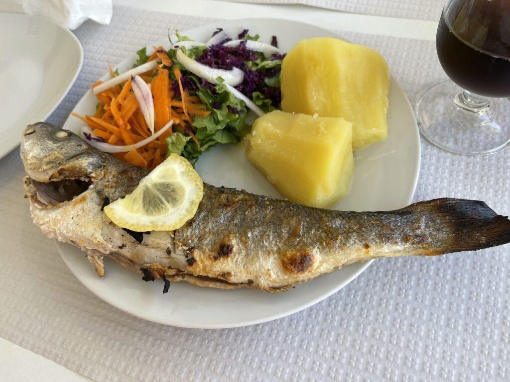 Grilled fish at Manjar da Vila, Cascais, Portugal.