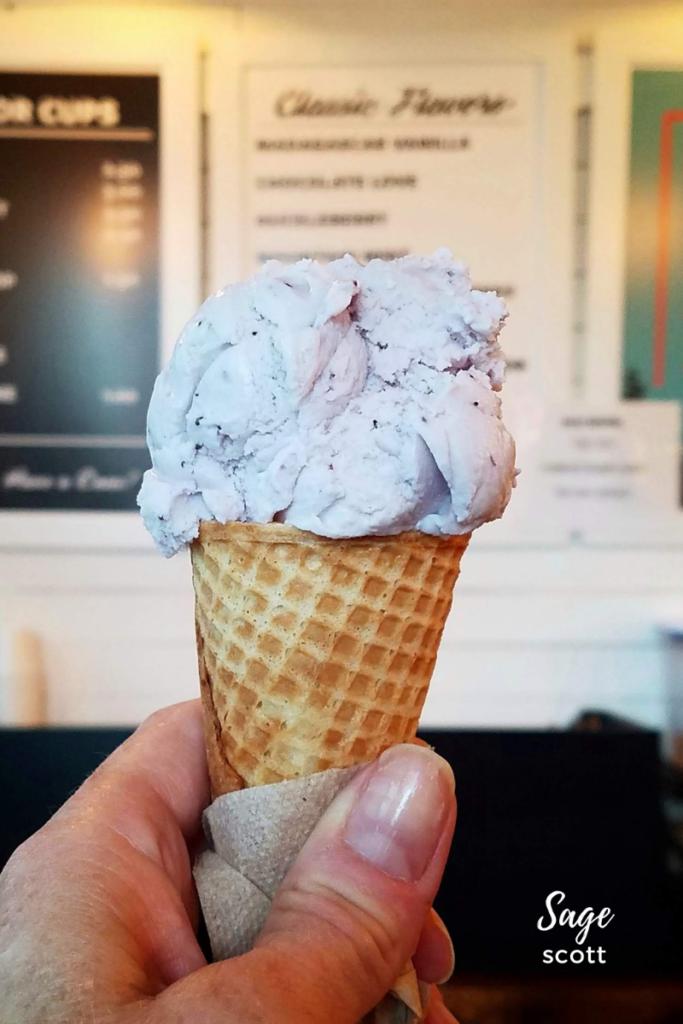 Huckleberry ice cream, Sweet Peaks, Bozeman.