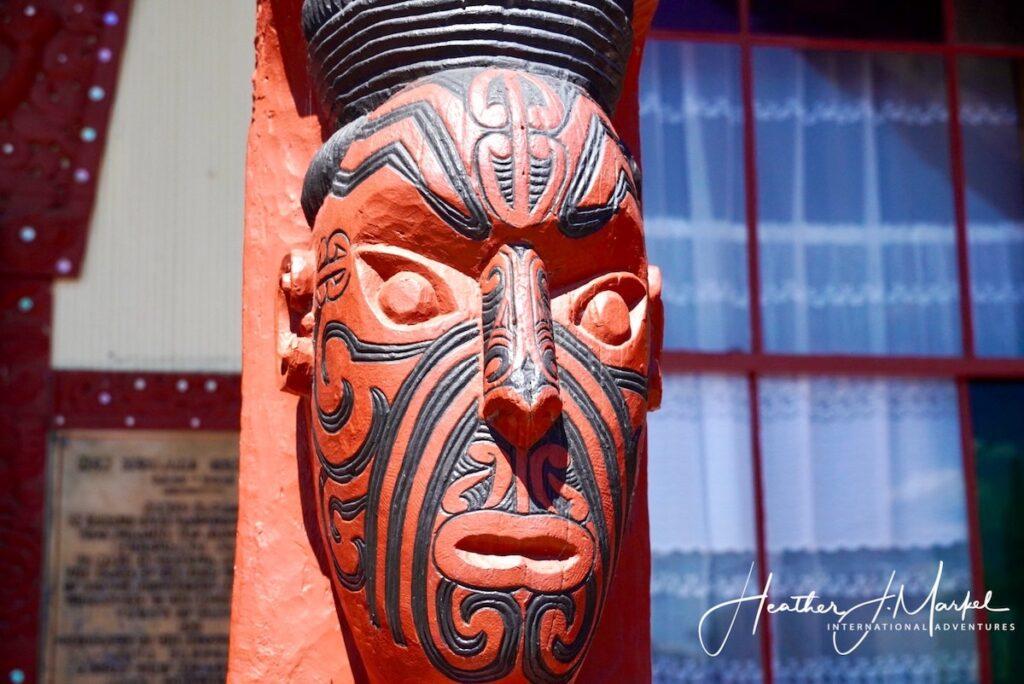 A Maori statue in New Zealand.