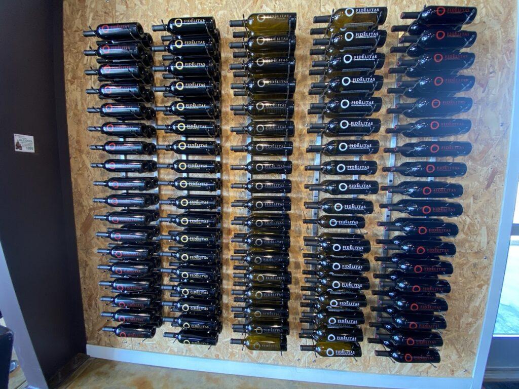 Various wine bottles at Fidelitas Wines.