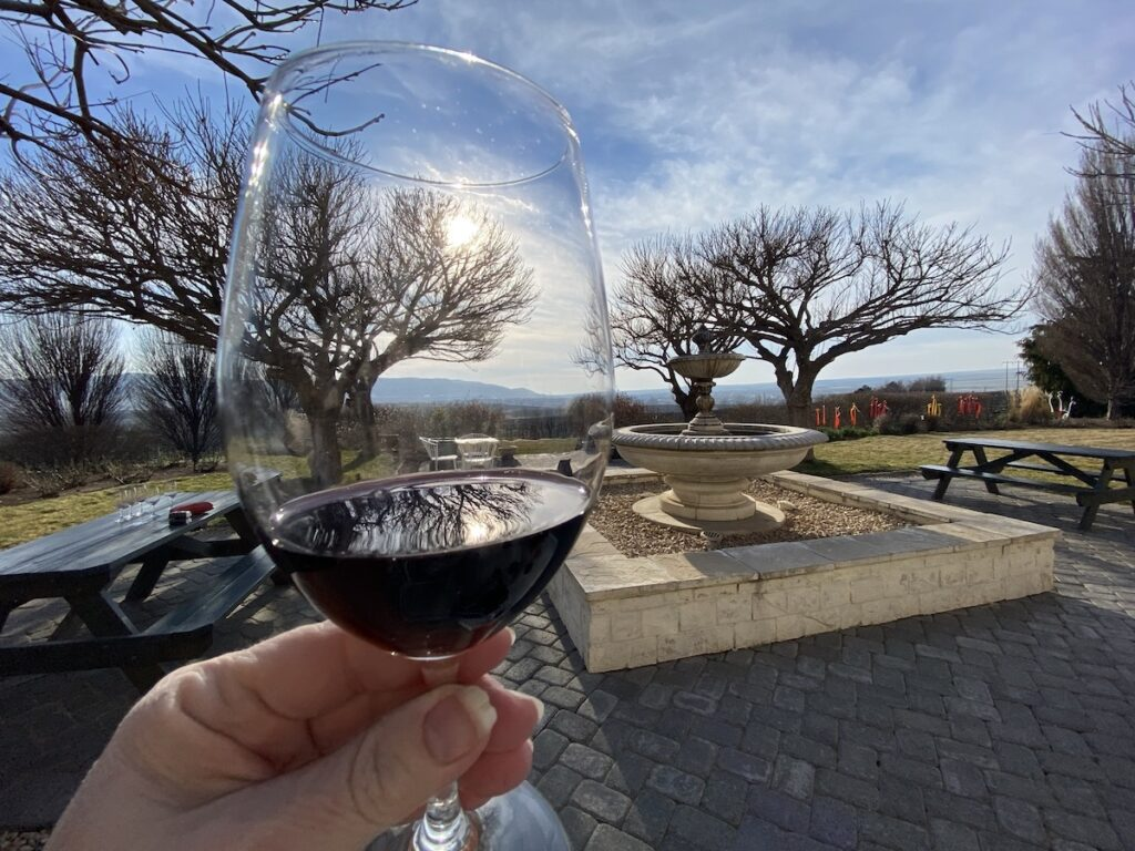 A glass of wine at Hedges Estate.