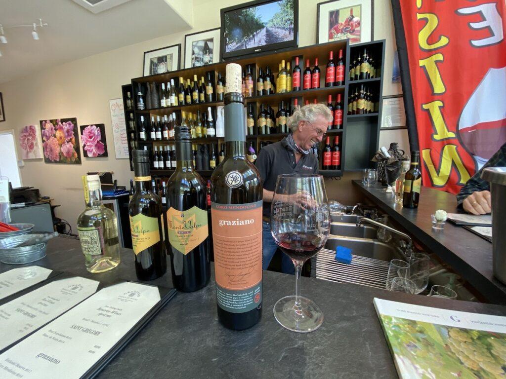 Wine samples at Graziano.
