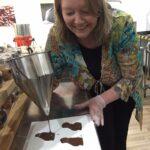 The writer making chocolate.