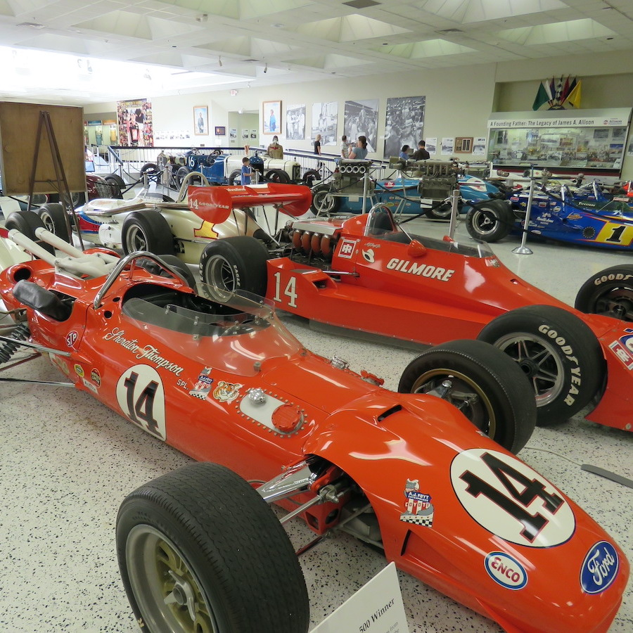 Indy cars on display at the Indianapolis Motor Speedway Museum