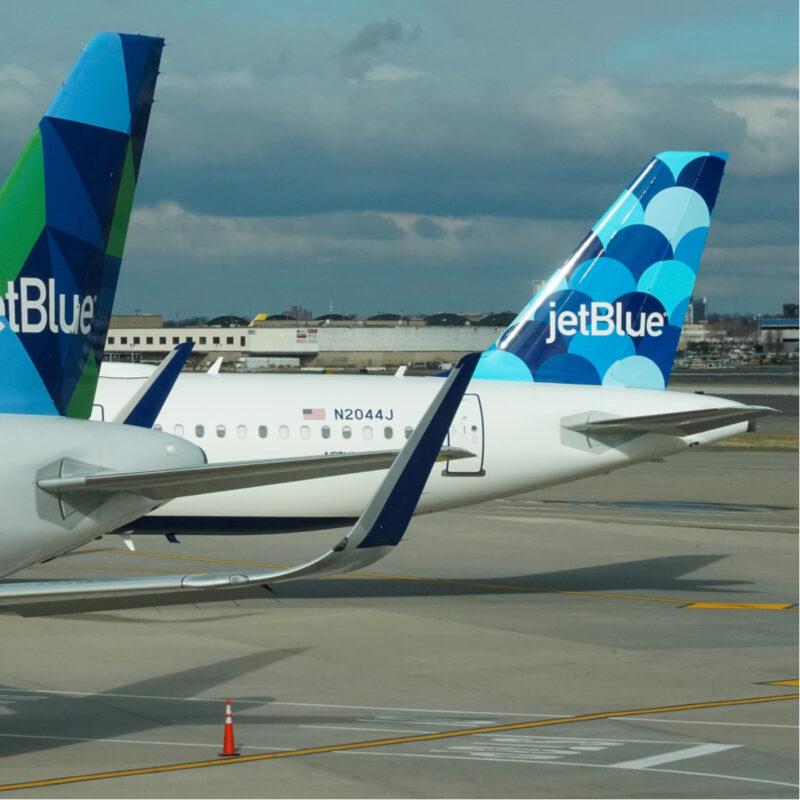 Jetblue airplane tails at JFK.