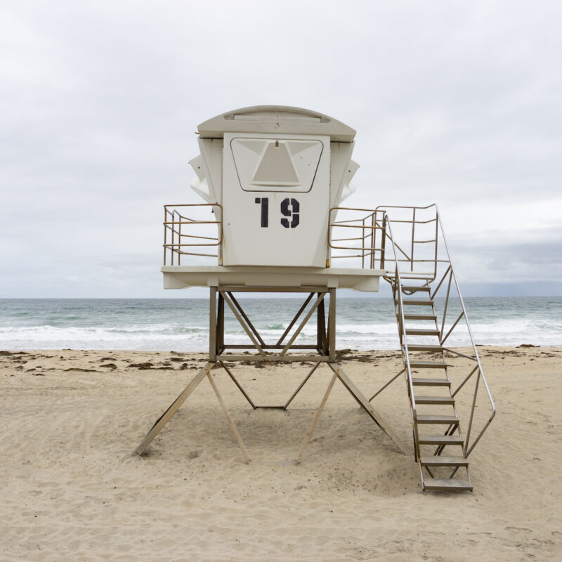 A lifeguard station in Pacific Beach, CA.