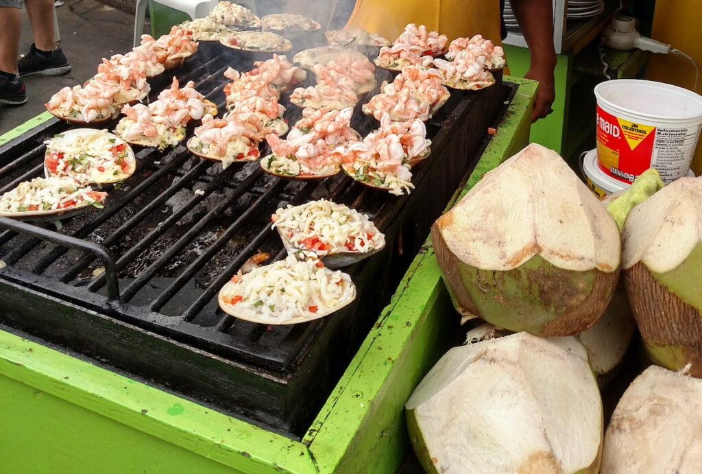 Clams cooking on grill at La Bufadora.