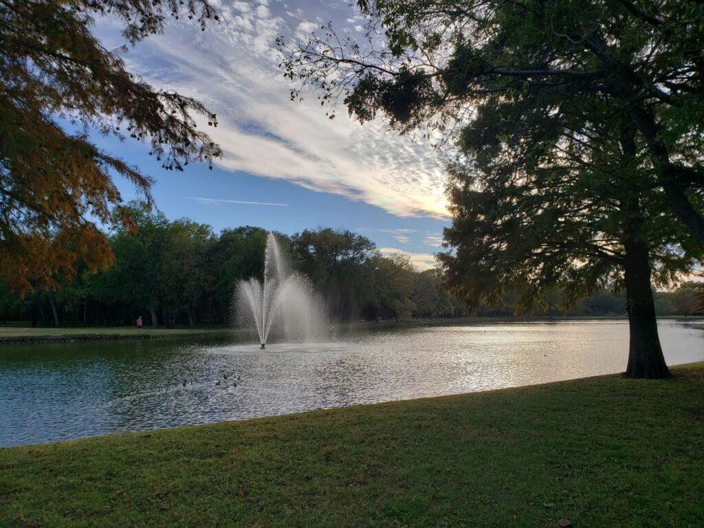 Fountain in Towne Lake Park.