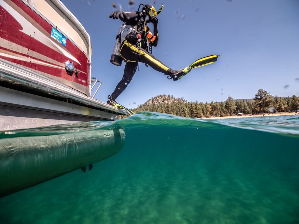 A diver on Lake Tahoe.