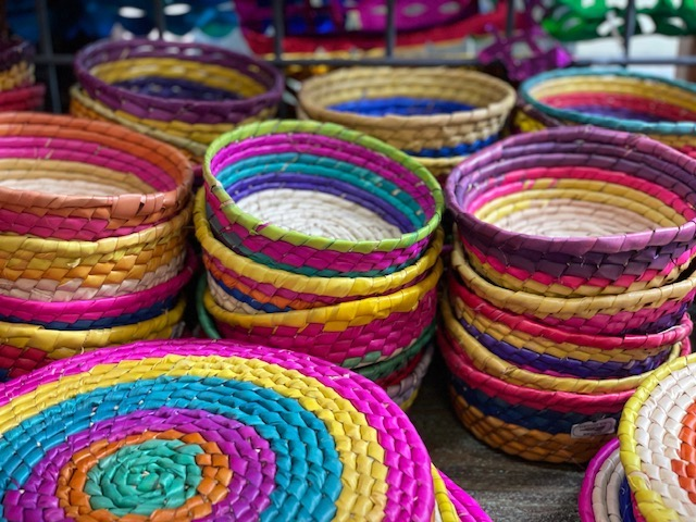 Colorful baskets.