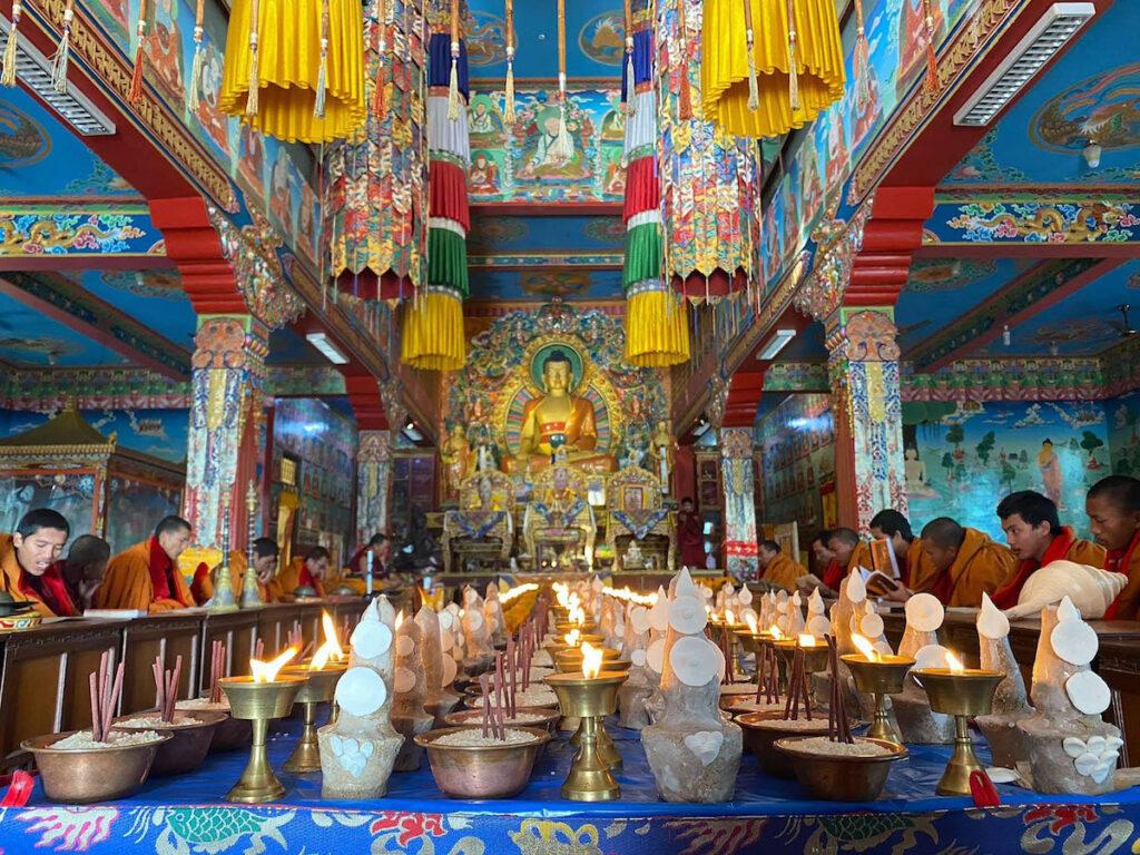 Tibetan monks praying.
