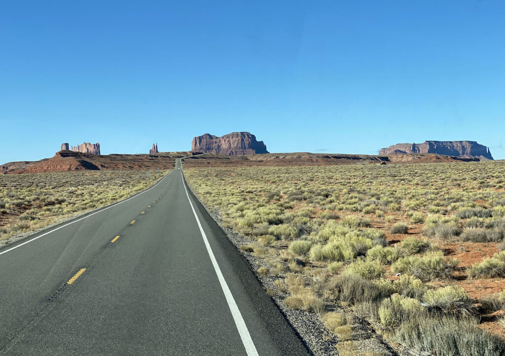 View of the road in Utah from RV.