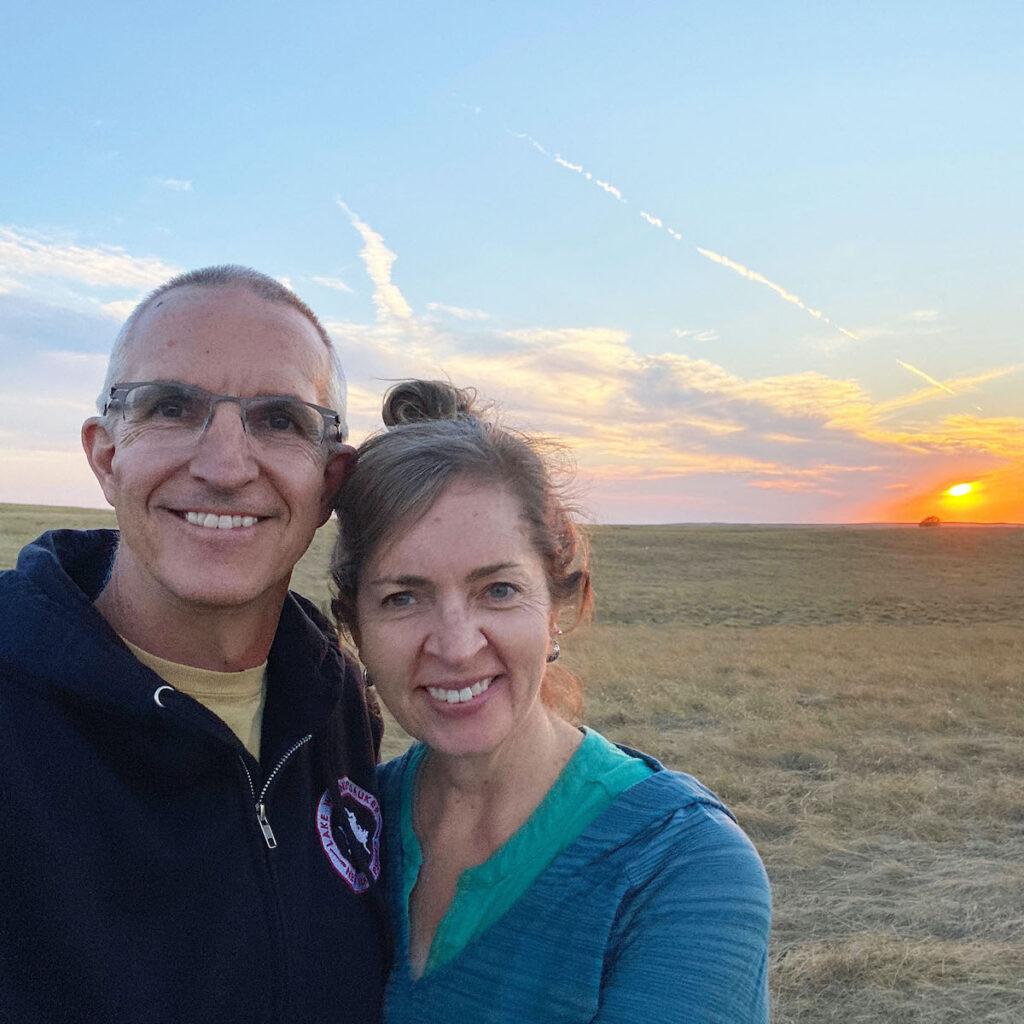 Kara and Quent in South Dakota Badlands.