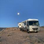 RV in moonlight, Goosenecks State Park, Utah.